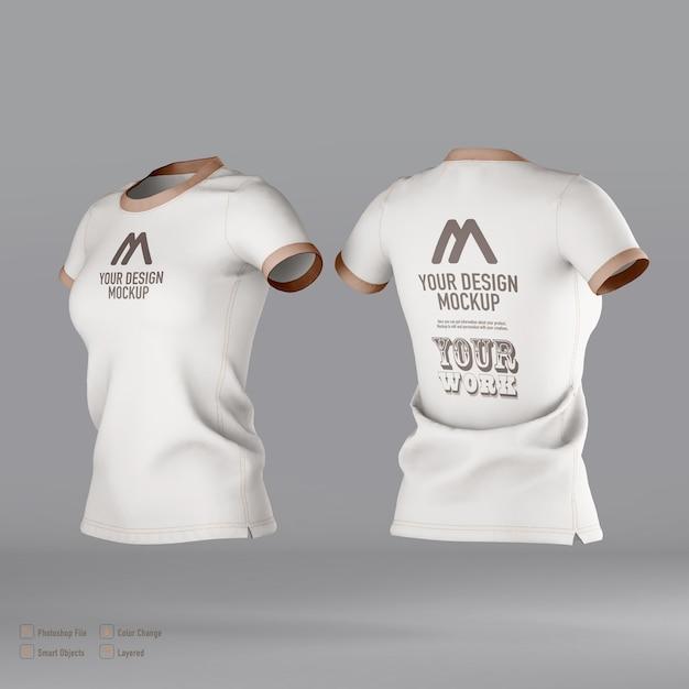 分離された女性のtシャツのモックアップ Premium Psd