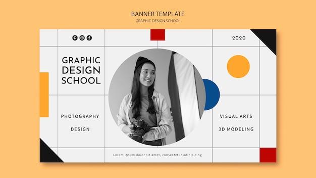 Женщина берет баннер курса графического дизайна Бесплатные Psd