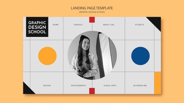 Женщина берет целевую страницу курса графического дизайна Бесплатные Psd