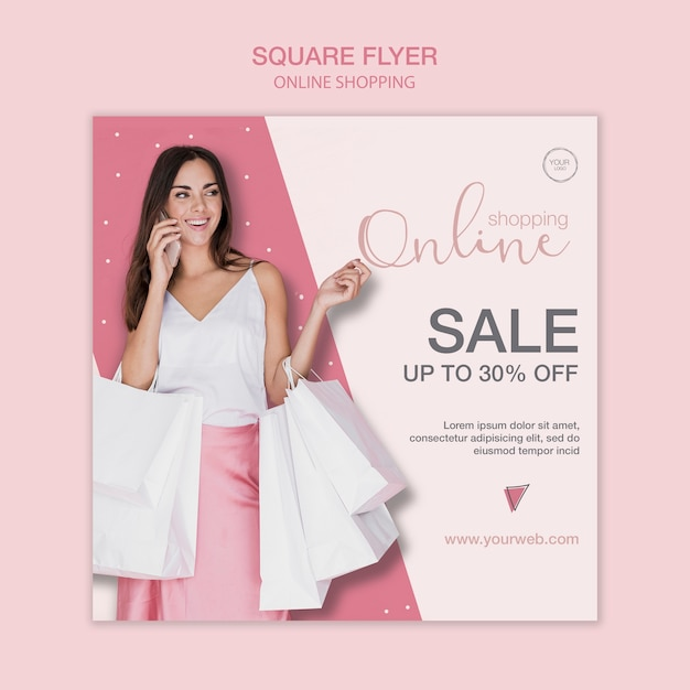 Woman talking on phone square flyer template Free Psd
