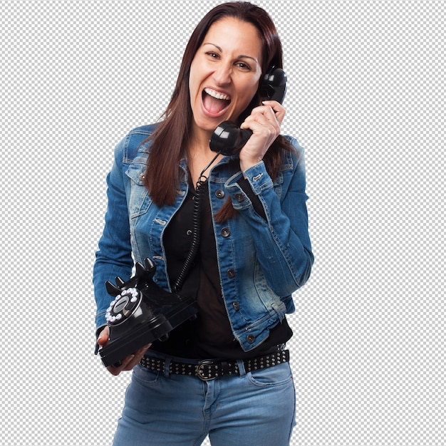 Woman talking on telephone Premium Psd