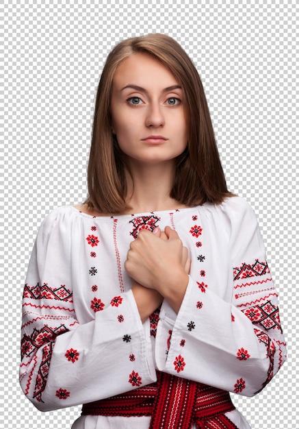 Woman in the ukrainian national suit Premium Psd