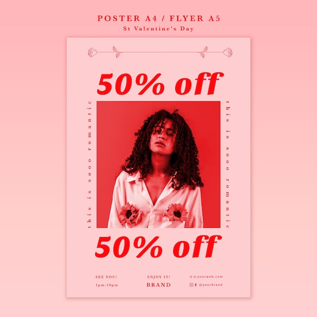 Woman on a valentine's day sale poster Free Psd