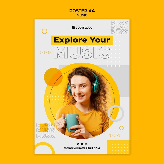 Woman wearing headphones and holding a cup poster Free Psd