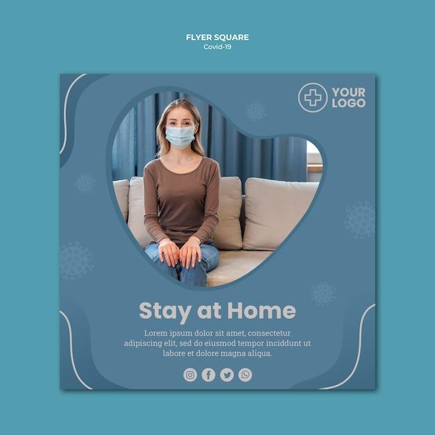 Женщина носить маску коронавируса концепции квадратный флаер Бесплатные Psd