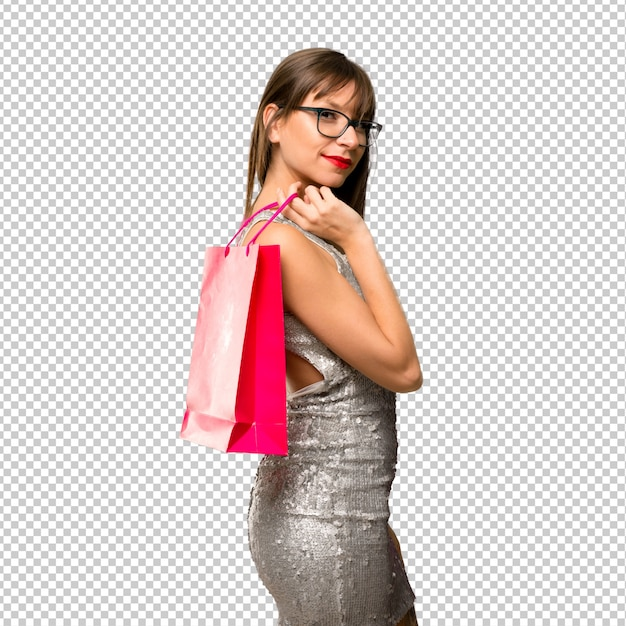 Woman wearing a sequined dress Premium Psd