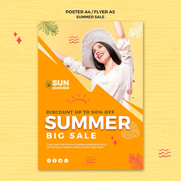 Woman wearing summer clothes sales flyer Free Psd
