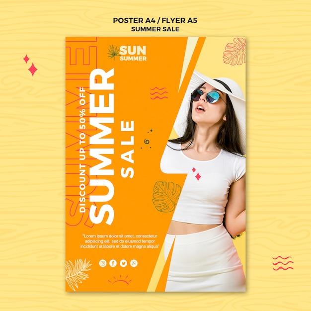 Плакат продажи одежды лета женщины нося Бесплатные Psd