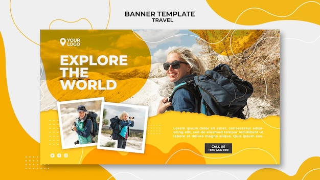 Woman with backpack banner template Free Psd