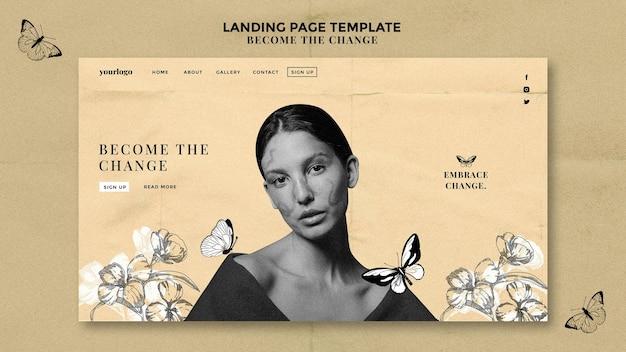 Целевая страница женщины с нарисованными бабочками Premium Psd