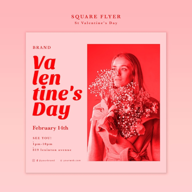 Woman with flowers in her jacket square flyer Free Psd