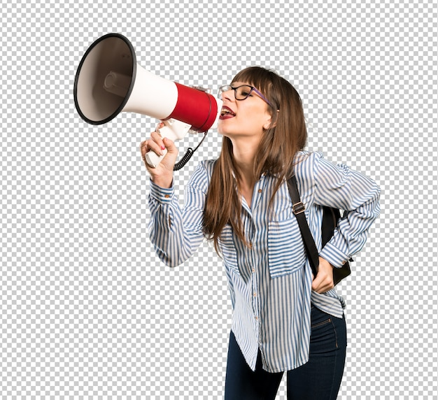 Woman with glasses shouting through a megaphone Premium Psd