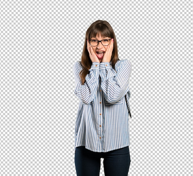 Woman with glasses with surprise and shocked facial expression Premium Psd