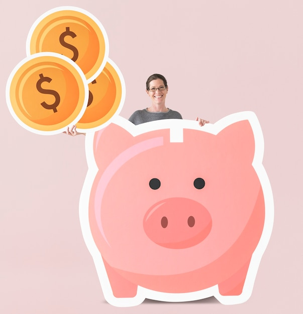Woman with piggy bank mockup Free Psd