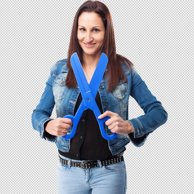 Woman with scissors Premium Psd