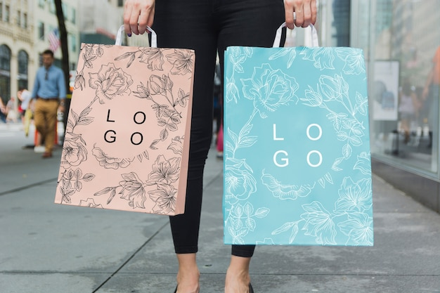Woman with shopping bag mockup PSD file | Free Download