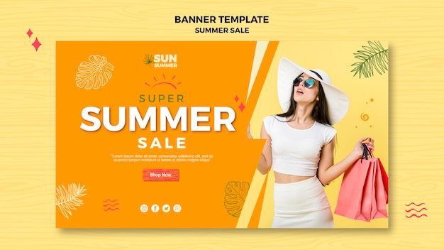 Woman with sunglasses summer sale banner Free Psd