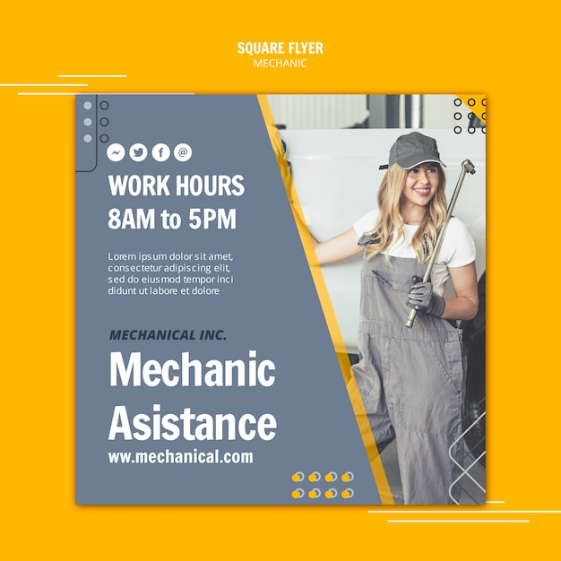 Donna che lavora come aletta di filatoio dell'assistente del meccanico Psd Gratuite