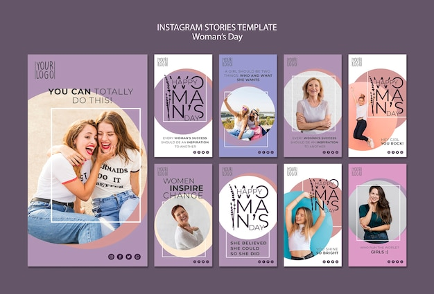 Womans day theme for instagram stories template Free Psd