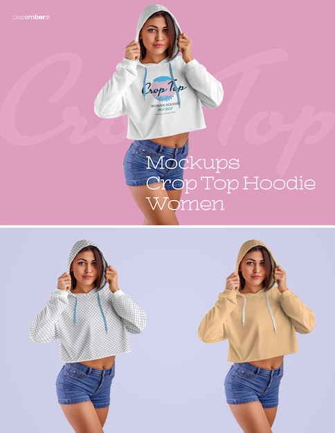 Women crop top hoodie mockups. design is easy in customizing images design (on hoodie, sleevs, torso), color all elements hoodie and color tone pants Premium Psd