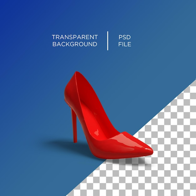 Women heel red 3d Premium Psd