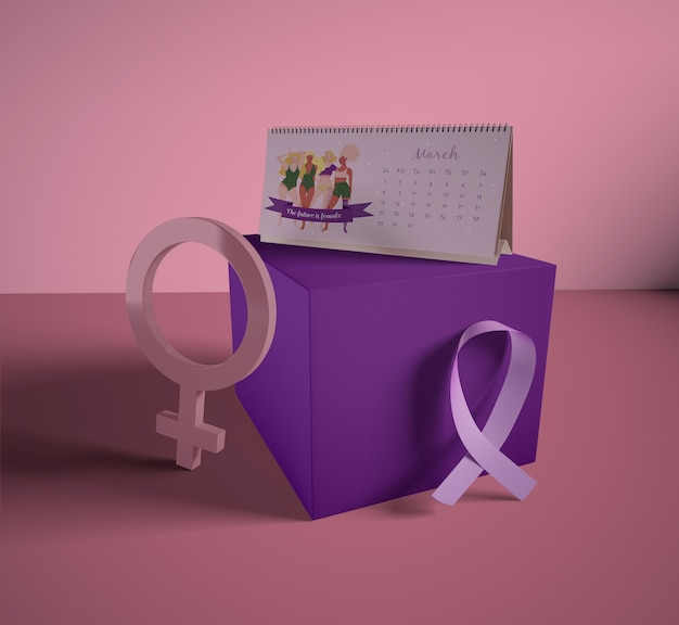 Women's day calendar with mock-up Free Psd