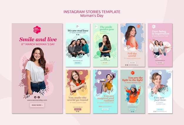 Modello di storie di instagram del giorno delle donne Psd Gratuite