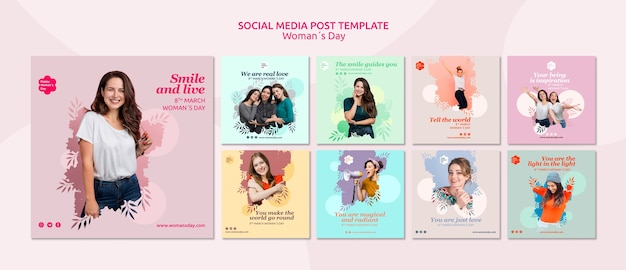 Womens day social media post template Free Psd
