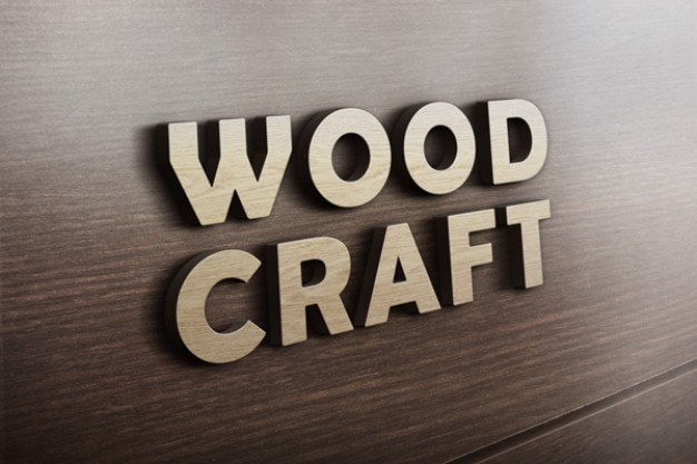 Wood craft logo mockup  Free Psd