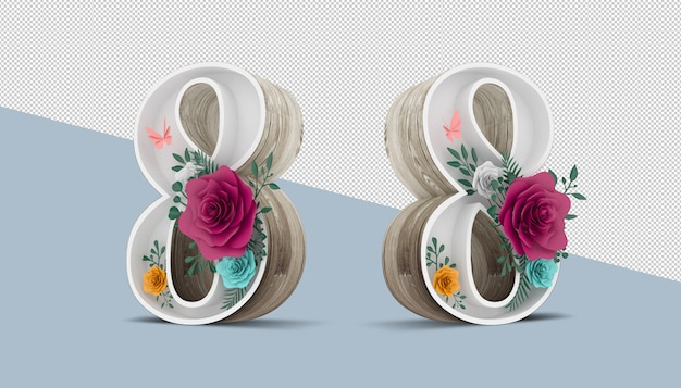 Wood number 8 with colorful flower decoration, 3d rendering Premium Psd