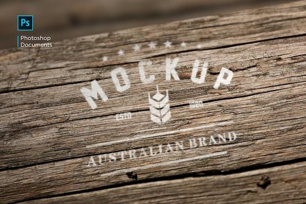 Wood printed logo mockup design template Premium Psd