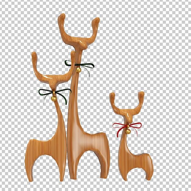 Деревянный олень в 3d-рендеринге Premium Psd