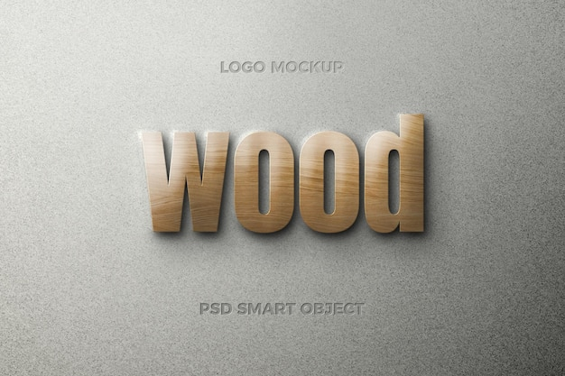 Wood text style effect with text template design Premium Psd