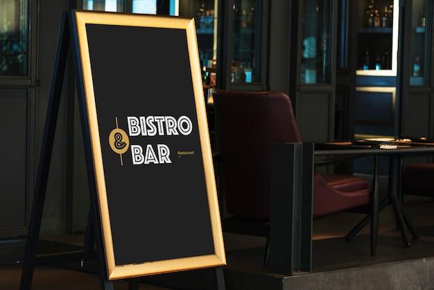Wooden bar tripod sign Free Psd