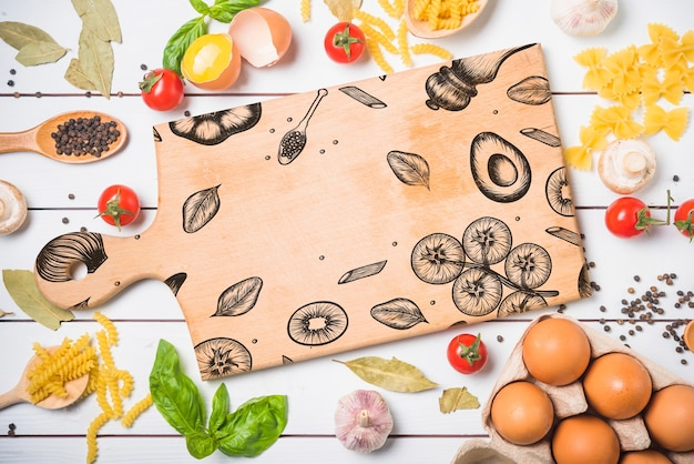 Wooden board mockup with healthy food concept Free Psd