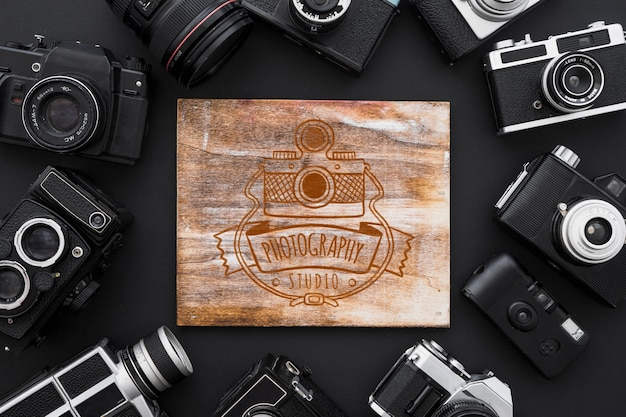 Wooden board mockup with photography concept Free Psd