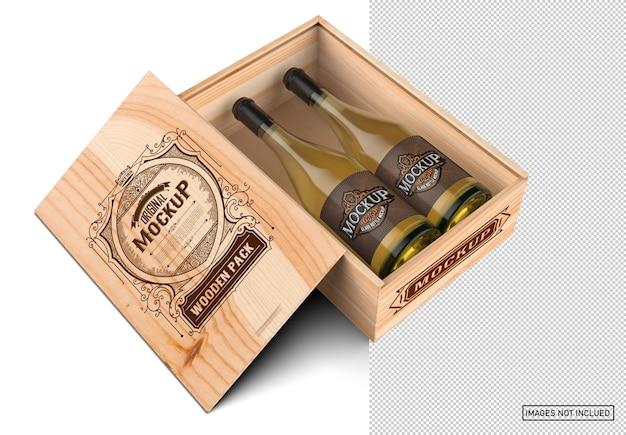 Деревянная коробка с бутылками белого вина Premium Psd