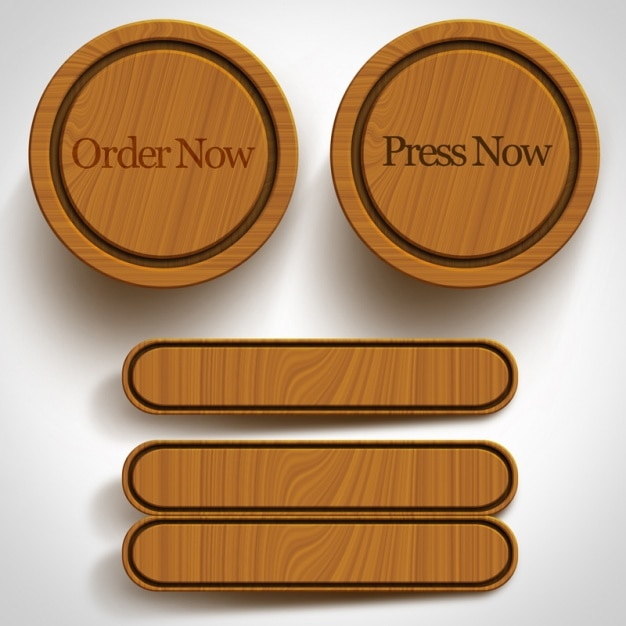 Wooden buttons collection Free Psd