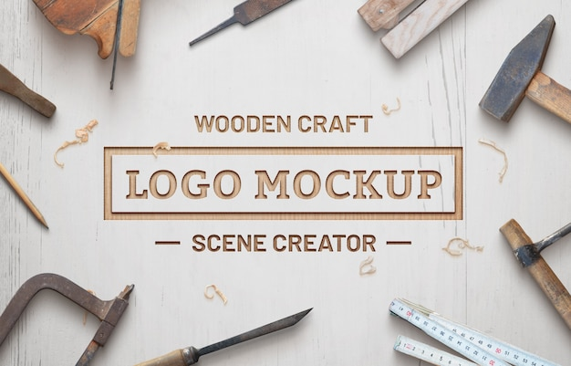 Wooden craft logo mockup scene creator. white wooden surface with wooden shavings. Premium Psd