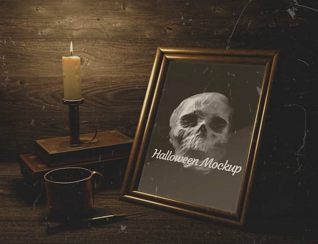 Wooden decor and halloween mock-up frame with skull Free Psd