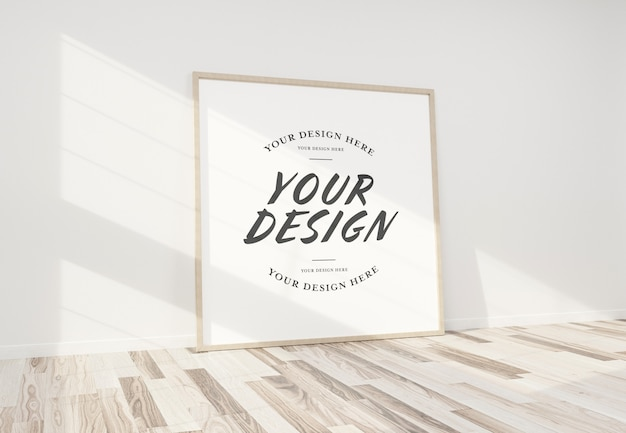 Wooden frame leaning in interior mockup Premium Psd