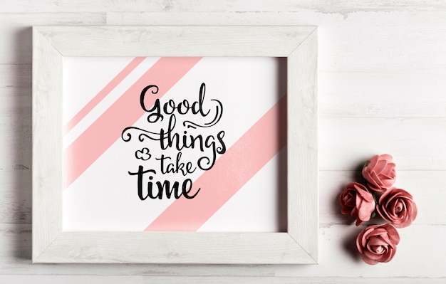 Wooden frame with motivational quote Free Psd