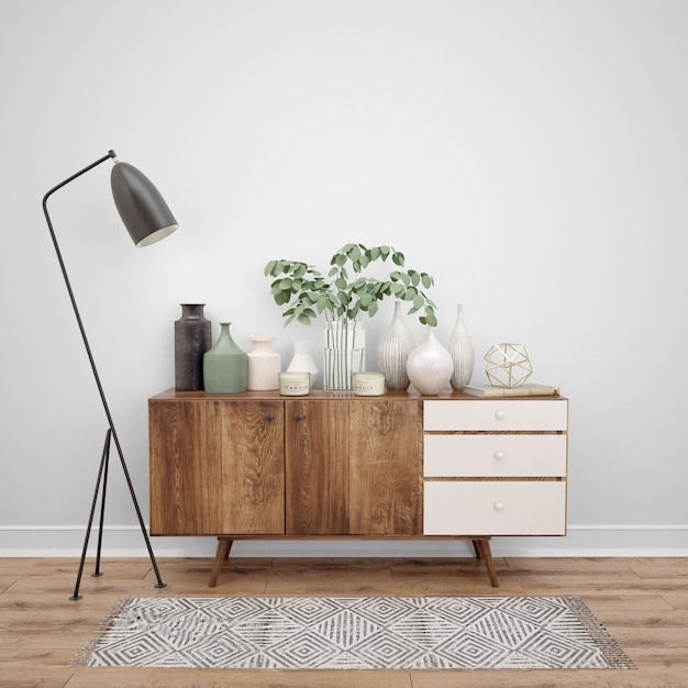 Wooden furniture with decorative objects and lamp, interior design ideas Free Psd