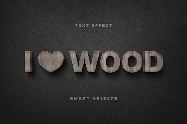 나무 편지 텍스트 효과 템플릿 프리미엄 PSD 파일