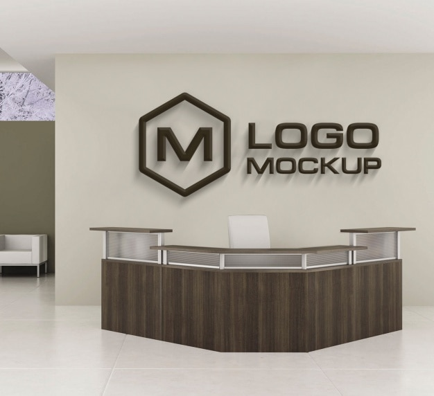 Wooden Logo Mock Up On Office Wall Free Psd