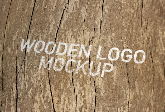 木製のロゴモックアップ Premium Psd