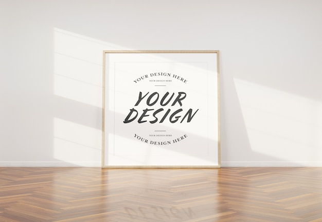 Wooden photo frame mockup leaning in interior Premium Psd