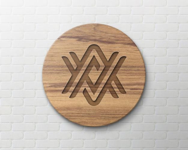 レンガの壁に木製サインロゴモックアップ Premium Psd