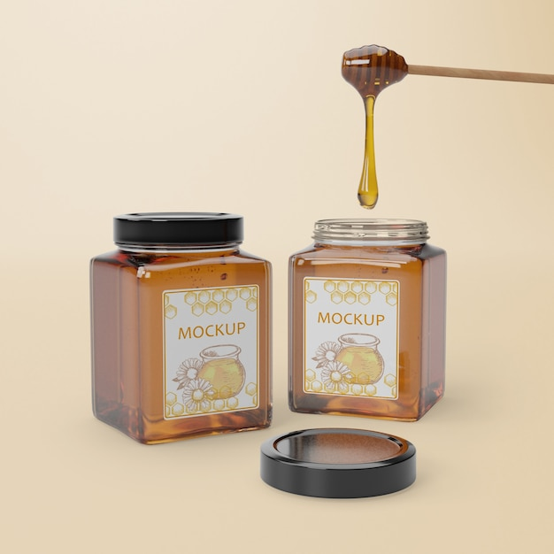 Wooden spoon with honey Free Psd