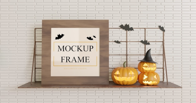 Wooden square mockup halloween on the wall table Premium Psd